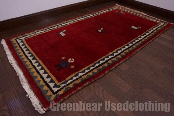 【USED】ウール絨毯 トライバルラグ 73×144cm 深紅 【RAGC422】【中古】