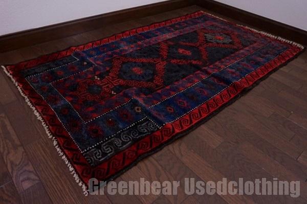 【USED】ウール絨毯 トライバルラグ 80×150cm 赤×青 【RAGC431】【中古】