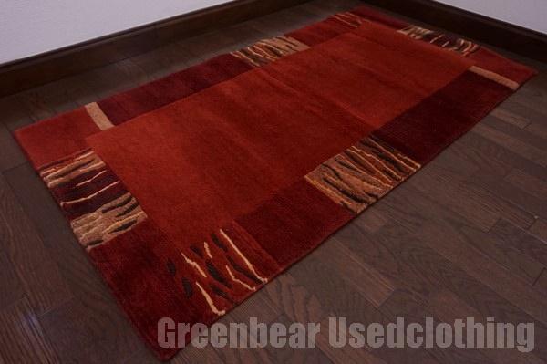 【USED】ウール絨毯 トライバルラグ 72×140cm 赤茶×茶 【RAGC446】【中古】