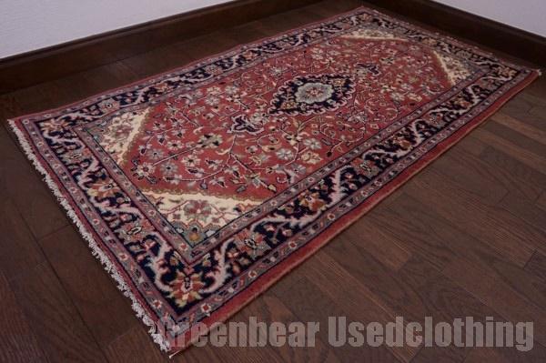 【USED】ウール絨毯 トライバルラグ 69×130cm くすみピンク×紺 【RAGC447】【中古】