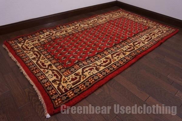 【USED】ウール絨毯 トライバルラグ 88×162cm 赤×ベージュ 【RAGC465】【中古】