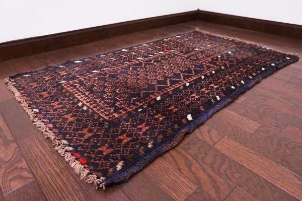 【USED】ベッドサイドやリビングに◎ オールド絨毯 トライバルラグ ウール ギャッベ アンティーク ビンテージ 【RAGG243】【中古】