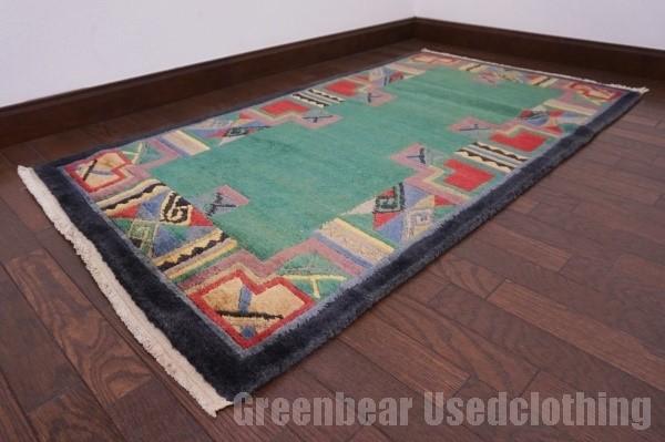 【USED】ベッドサイドやリビングに◎ オールド絨毯 トライバルラグ ウール ギャッベ アンティーク ビンテージ 【RAGG293】【中古】