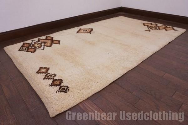 【USED】ベッドサイドやリビングに◎ オールド絨毯 トライバルラグ ウール ギャッベ アンティーク ビンテージ 【RAGG323】【中古】