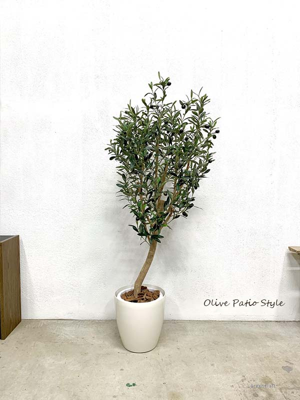 フェイクグリーン 大型 人工観葉植物 オリーブパティオ実付き 高さ1.5m 光触媒付 観葉 植物 光触媒 人工植物 インテリアグリーン インテリア おしゃれ プランター イミテーショングリーン 造花 鉢植え リアル 木製 幹 枝