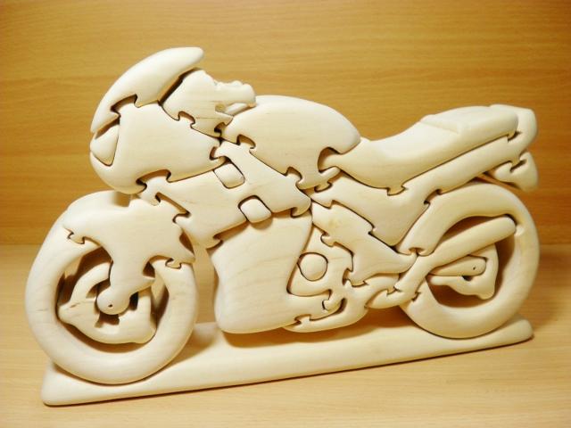 北欧玩具【バイク立体パズル】手づくり木製立体パズル
