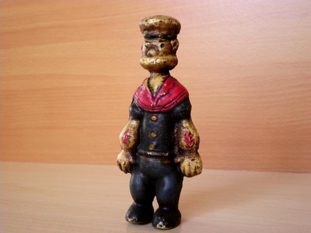 古い鋳物製【ポパイの貯金箱】アメリカ・アンティークトイ(USED商品)