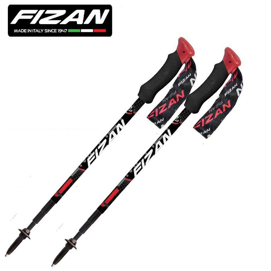 FIZAN フィザン トレッキングポール アジャスタブル 可変4段 49-125cm COMPACT4 Red 2本セット FZ-7105 世界最軽量169g アルミニウム