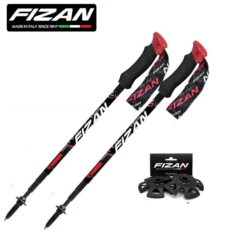 【スノーバスケット Art.B-95 セット】FIZAN トレッキングポール 49-125cm COMPACT4 Red FZ-7105