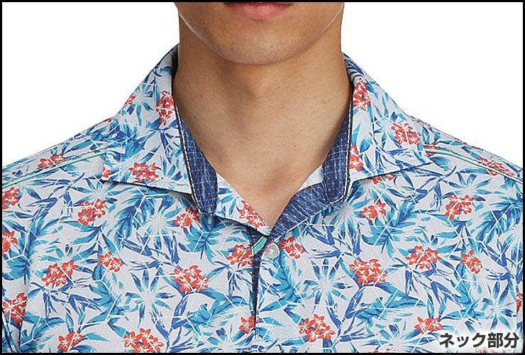 ミズノ ゴルフウェア ポロシャツ ライトスタイル ボタニカルプリント 半袖シャツ 52MA7010