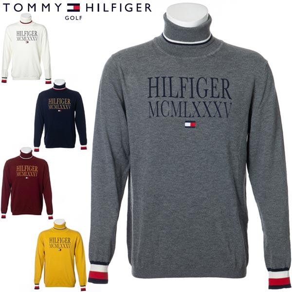 トミーヒルフィガー ゴルフ ウェア メンズ TH ロゴ タートルネック ニット THMA078 2020年秋冬モデル M-XL
