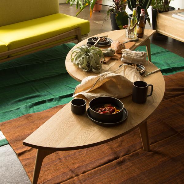 【 送料無料 】 Luu Table リビングテーブル 幅 130cm 奥行き 45cm 高さ 33cm オーク天板 | テーブル コーヒーテーブル ローテーブル 無垢 無垢材 オーク シンプル ナチュラル 北欧 おしゃれ 天板 半円 半月型 家具 インテリア 木製 木 リビング