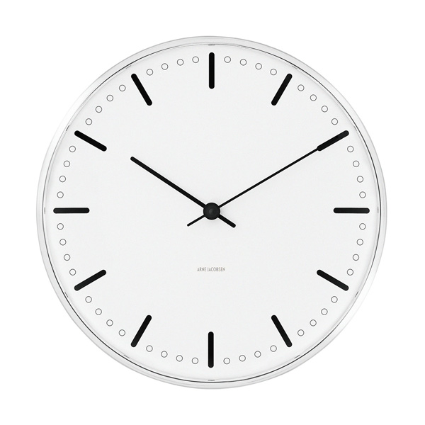 Arne Jacobsen Wall Clock 290mm CityHall (1956)   時計 クロック ウォールクロック 壁掛け 壁掛け時計 アルネヤコブセン ヤコブセン デザイン デザイナー ローゼンダール シティホール 丸 シンプル おしゃれ 北欧 デンマーク お洒落 電池式