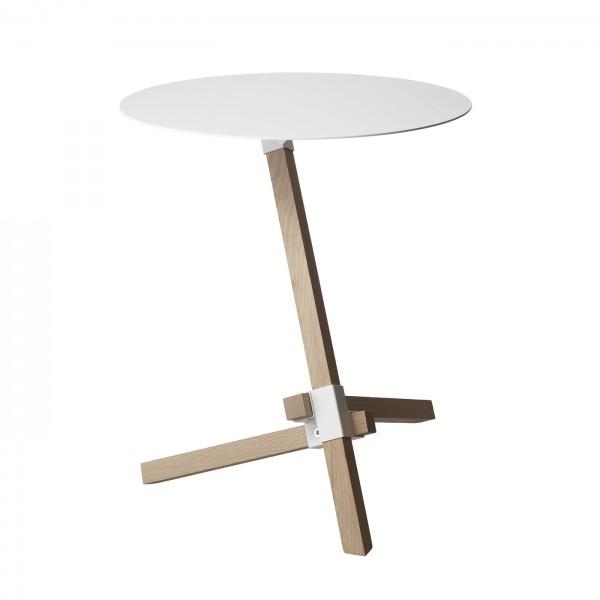 DUENDE(デュエンデ) TRE white φ420mm | テーブル サイドテーブル スチール オーク オーク材 ホワイト 白 円卓 ラウンド シンプル ナチュラル リビング