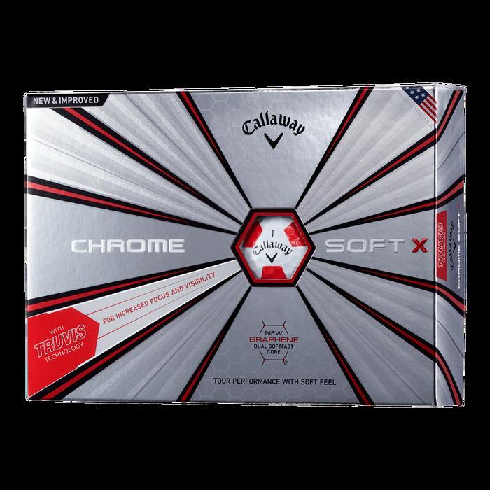 Callaway CHROME SOFT X TRUVIS ボール ホワイト×レッド キャロウェイ クロムソフト エックス トゥルーニス 2ダースパック ゴルフ