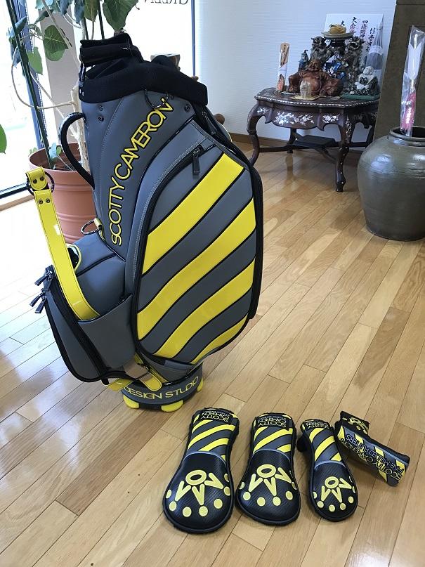 ScottyCameron CAUTION STRIPE STAFF BAG YELLOW/GLAY スコッティキャメロン カウション ストライプ スタッフバッグ イエローグレー キャディバッグ ヘッドカバーセット付き