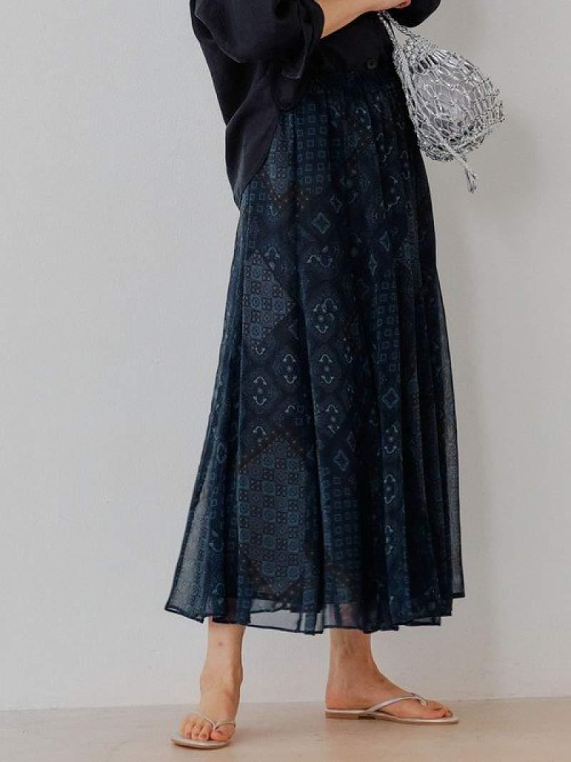 [Rakuten Fashion][Deveaux(デヴォー)]CFCシアーマーメイドマキシスカート UNITED ARROWS green label relaxing ユナイテッドアローズ グリーンレーベルリラクシング スカート ロングスカート ブルー ブラウン【送料無料】