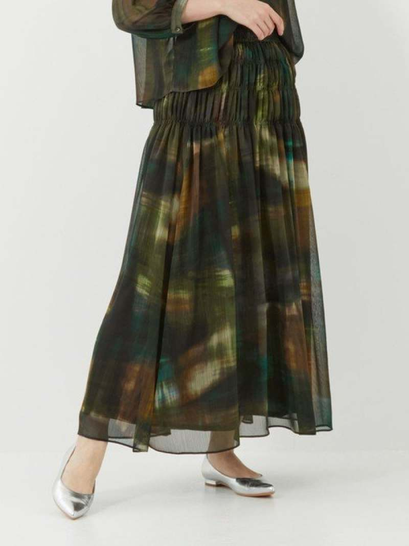 [Rakuten Fashion]『BRACTMENT(ブラクトメント)』DEVEAUXシャーリングマキシスカート UNITED ARROWS green label relaxing ユナイテッドアローズ グリーンレーベルリラクシング スカート ロングスカート カーキ ネイ【送料無料】