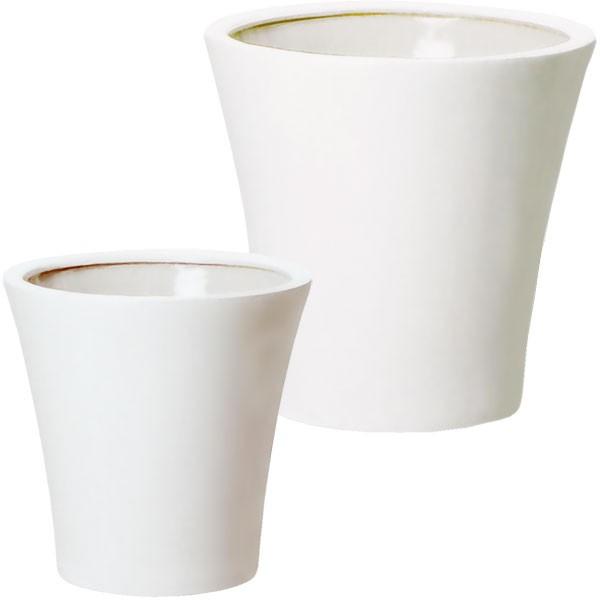 植木鉢 モダン WY15 ツヤ釉 白 2個セット 2サイズ 11号 13号 底穴あり 陶磁器 プランター インドアポット 鉢 観葉植物用 フロア置き