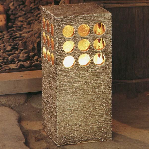 【日本製】 陶照明 ガーデンライト 大 屋外用ライト付 全高50cm×幅22cm 信楽焼 しがらきやき 陶器製 焼き物 国産品 防水 白熱球 ライト