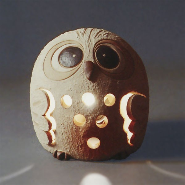 【日本製】 陶照明 まんまるふくろう灯り 全高14.5cm×幅14cm 信楽焼 しがらきやき 陶器製 焼き物 国産品 白熱球 インテリア オブジェ