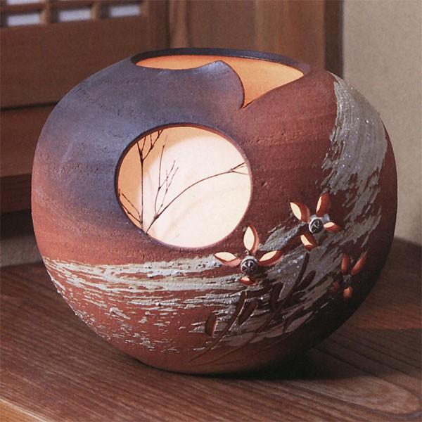 【日本製】 陶照明 秋の月灯り 全高27cm×幅30cm 信楽焼 しがらきやき 陶器製 焼き物 国産品 白熱球 インテリア オブジェ
