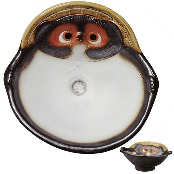 【日本製】 狸手洗鉢 排水口丸金具付 全高15cm×幅39cm 信楽焼 しがらきやき 陶器製 国産品 洗面ボウル 洗面鉢 手洗い鉢 インテリア 和風