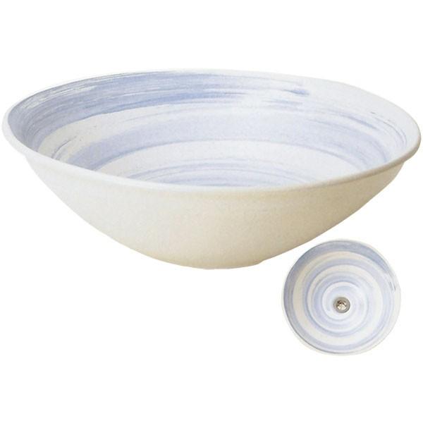 【日本製】 蒼流し手洗鉢 排水口丸金具付 全高12cm×幅38cm 信楽焼 しがらきやき 陶器製 国産品 洗面ボウル 洗面鉢 手洗い鉢 インテリア 和風