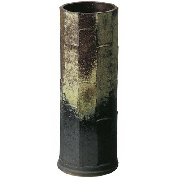 【日本製】 古陶面取傘立 全高45.5cm×幅16cm 信楽焼 しがらきやき 陶器製 国産品 傘立て 笠立て 傘入れ 傘だて レインラック 玄関収納 インテリア