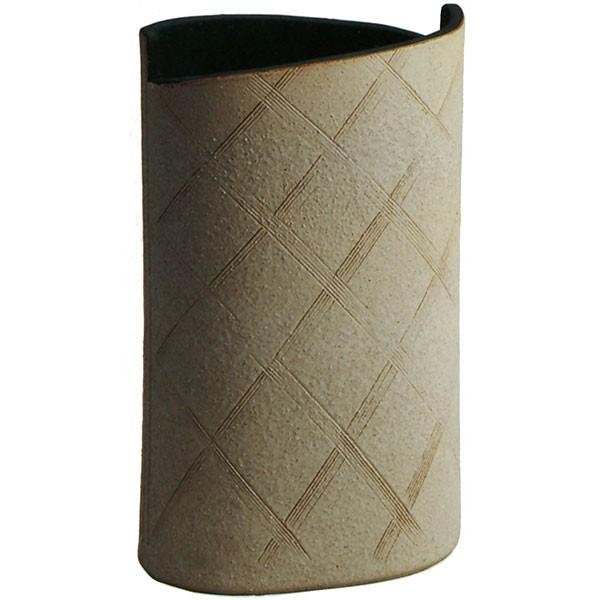 【日本製】 白釉小判傘立 全高45.5cm×幅26.5cm 信楽焼 しがらきやき 陶器製 国産品 傘立て 笠立て 傘入れ レインラック 玄関収納 インテリア