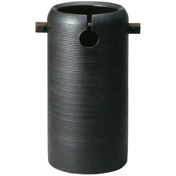 【日本製】 黒釉手付傘立 全高42cm×幅22.5cm 信楽焼 しがらきやき 陶器製 国産品 傘立て 笠立て 傘入れ 傘だて レインラック 玄関収納 インテリア