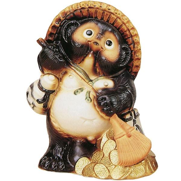 【日本製】 信楽焼 福熊手狸 11号 全高34cm×幅26cm しがらきやき 陶器製 国産品 焼き物 狸 たぬき タヌキ 置き物 置物 インテリア オブジェ