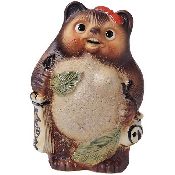【日本製】 信楽焼 古信楽笑福狸メス 13号 全高42cm×幅29cm しがらきやき 陶器製 国産品 焼き物 狸 たぬき タヌキ 置き物 置物 インテリア