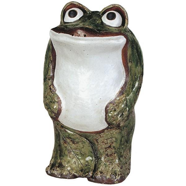 【日本製】 信楽焼 立蛙 17号 全高52cm×幅31cm しがらきやき 陶器製 国産品 焼き物 カエル かえる 蛙 置き物 置物 インテリア オブジェ