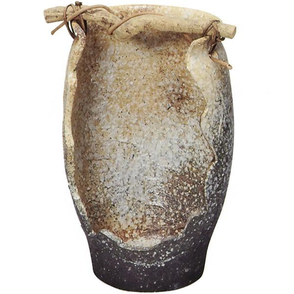 【日本製】 花器 白窯変手桶花入 全高44cm×幅29cm 信楽焼 しがらきやき 陶器製 焼き物 国産品 フラワーベース 花瓶 器 フラワーアレンジメント