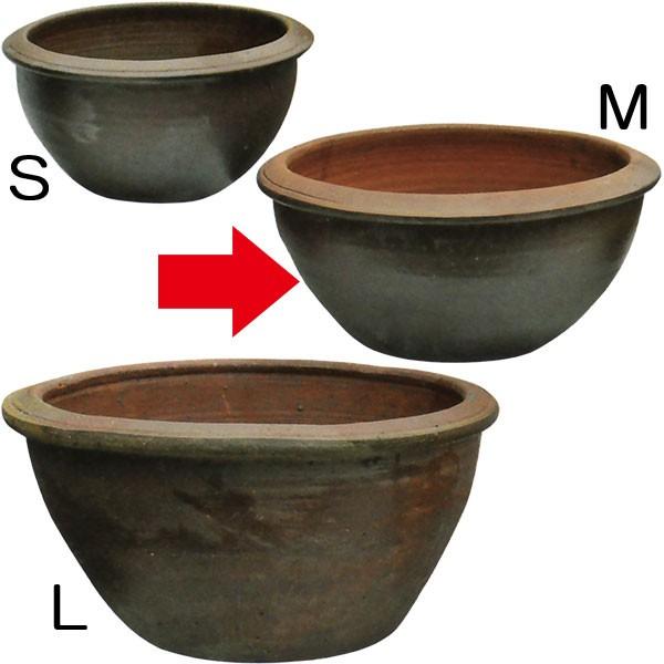 水鉢 JAR A-1 Mサイズ 全高25cm×直径49cm 陶器製 スイレン鉢 水蓮鉢 睡蓮鉢 器 ビオトープ ハイドロカルチャー 水生植物