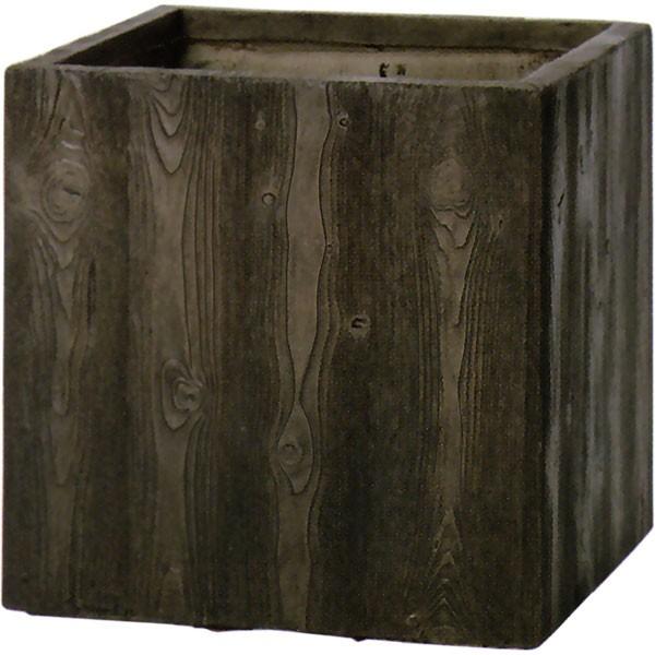 植木鉢・ファイバークレイ・ベータ・キューブ・プランター・ウッド・55型(18号)(全高55cm×口55cm)(セメント/ガラス繊維)(底穴あり)(軽量プランター)