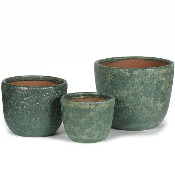 植木鉢 LT005GR グリーン 3サイズ 3個セット S M L 底穴あり 陶器製 プランター ポット 器 園芸 ガーデニング 寄せ植え 樹木 観葉植物用