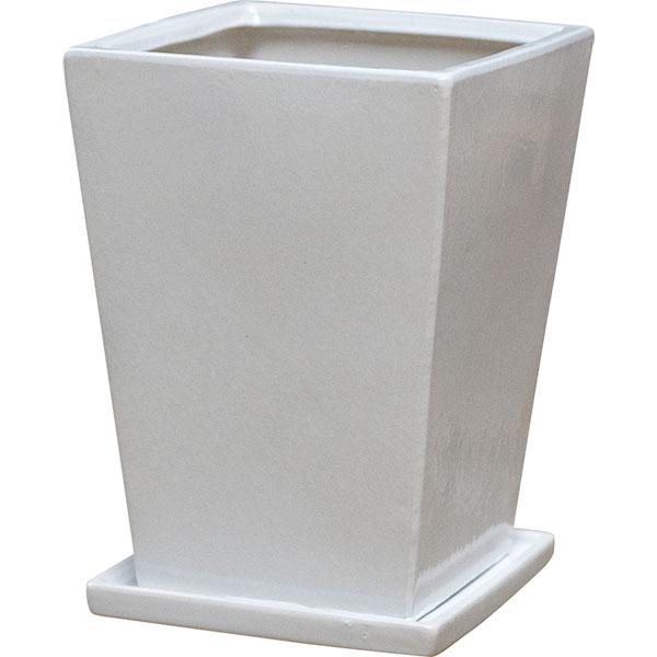 植木鉢 SG 受け皿付き スクエアー 4個セット 21型 全高29.5cm×口21cm 底穴あり 艶あり 釉薬陶器 プランター ポット 観葉鉢 ガーデニング 寄せ植え