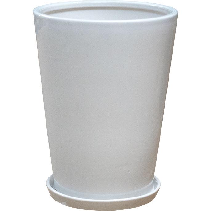 植木鉢 SG 受け皿付き ラウンド 38型 全高40cm×直径38cm 底穴あり 艶あり 釉薬陶器 プランター ポット 観葉鉢 ガーデニング 寄せ植え