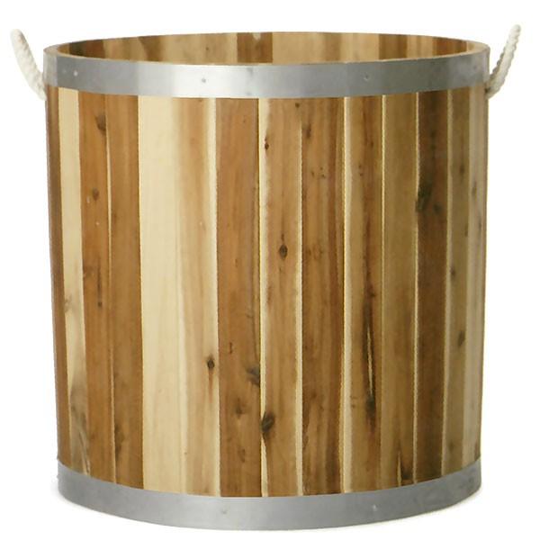 鉢カバー ウッドプランター シリンダー ハンドルロープ付き 特大 全高70cm×直径70cm 底穴あり プランター 植木鉢 木製 天然アカシア材