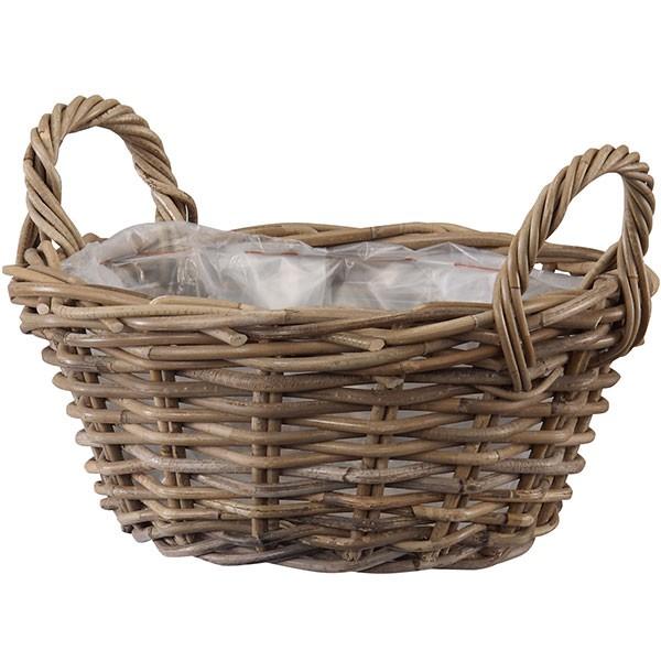 鉢カバー モンデリック ローハンドル バスケット35 5個セット 全高15cm×直径35cm 底穴なし ラタン製 天然素材 ポット 花器 園芸 観葉植物用