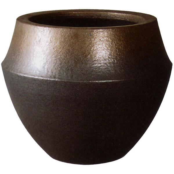 国産 鉢カバー 信楽焼き 陶器製 バレル ブラウンゴールド 8号用 全高33.5cm×直径40cm 底穴なし しがらきやき プランター 鉢