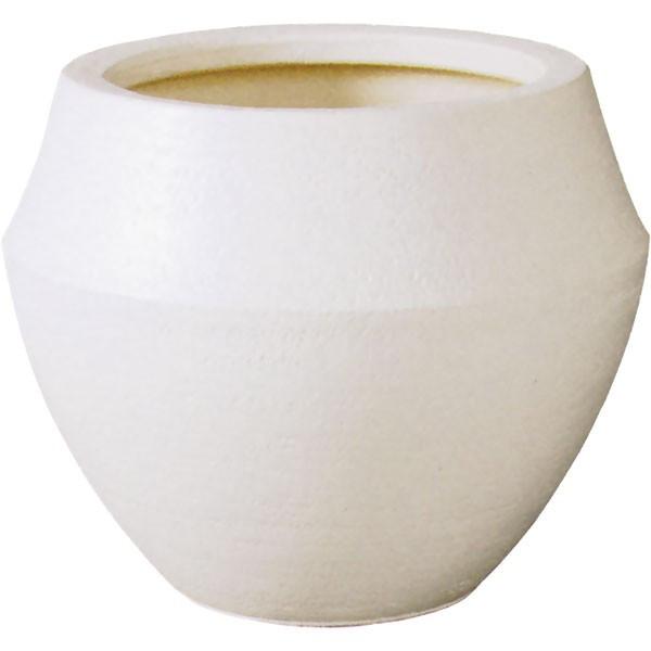 鉢カバー 信楽焼 陶器製 バレル ホワイト 8号用 全高31cm×直径33cm プランター 鉢 植木鉢 ラウンド デザインプランター 底穴なし 観葉植物用 ディスプレイ