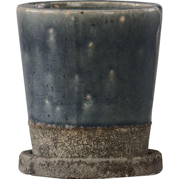 植木鉢 ヴィフポット18 受け皿付き ダークブルー 4個セット 全高18cm×直径18.5cm 釉薬陶器 陶器鉢 艶あり 底穴あり プランター ポット 園芸 ガーデニング