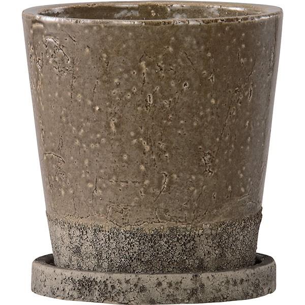 植木鉢 ヴィフポット18 受け皿付き ダークグレー 4個セット 全高18cm×直径18.5cm 釉薬陶器 陶器鉢 艶あり 底穴あり プランター ポット 園芸 ガーデニング 寄せ植え