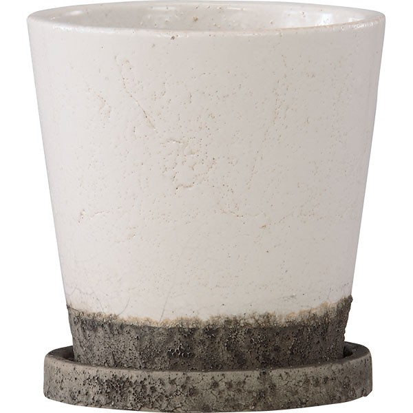 植木鉢 ヴィフポット18 受け皿付き ホワイト 4個セット 全高18cm×直径18.5cm 釉薬陶器 陶器鉢 艶あり 底穴あり プランター ポット 園芸 ガーデニング 寄せ植え