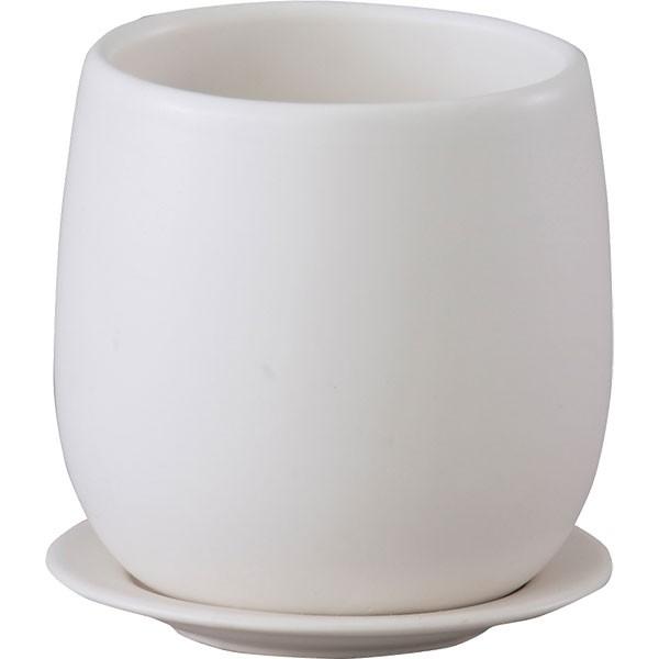 植木鉢 オスト ボール20 受け皿付き 4個セット マットホワイト 全高20.5cm×直径20.5cm 釉薬陶器 陶器鉢 底穴あり プランター ポット 園芸 ガーデニング