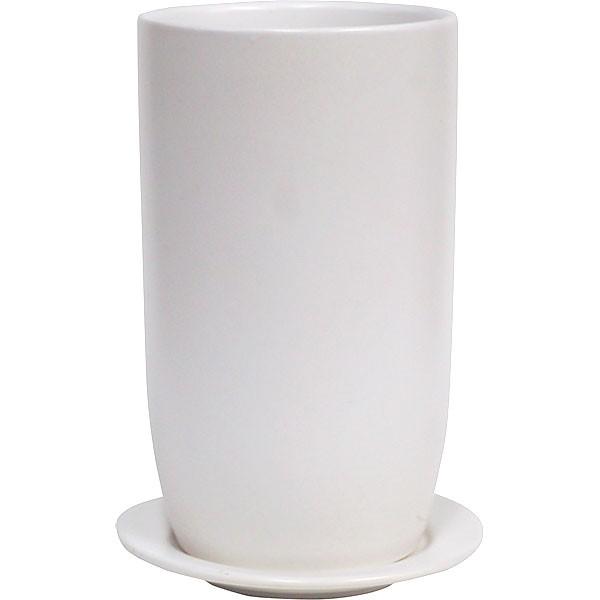 植木鉢 オスト トールエッグ15 受け皿付き 4個セット マットホワイト 全高24cm×直径15cm 釉薬陶器 陶器鉢 底穴あり プランター ポット 園芸 ガーデニング