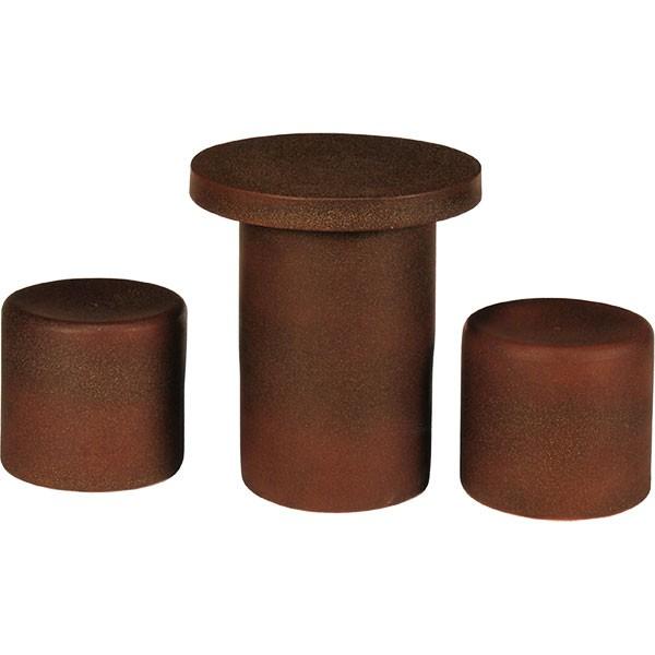 【日本製】 信楽焼 火色斑点テーブルセット 15号 3点セット しがらきやき 陶器製 国産品 椅子 チェア イス 机 テーブル ガーデンファニチャー